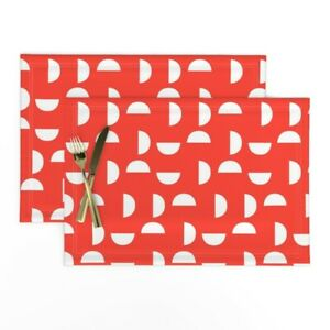 Cloth Placemats Red Circles Modern Kids Wedges Shapes Texture Set of 2