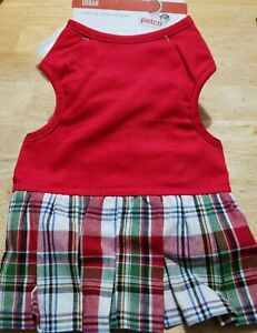 NEW PETCO CAT DOG RED PLAID DRESS PLEATED SKIRT COSTUME CLOTHES HOOK LOOP CLOSE