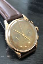Vintage Maxor 18K Gold Chronograph Watch Mechanical Wristwatch Rare 2 Button