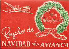 AVIANCA AIRLINE ~COLOMBIA~ Scarce MERRY CHRISTMAS Luggage Label, 1955