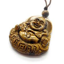 Tiger Eye Gem Tibet Buddhist Laughing Buddha Money Amulet Pendant Talisman