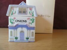 1992 Lenox Village Condiment Set Jar Onion Porcelain House