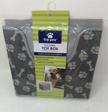 Top Paw Pet Toy Box Folding Storage Cube Cubbie Collapsible for Dogs Cats Kids