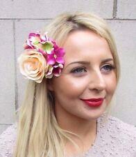 Rose Chaud Jaune Clair Hydrangea Fleur Rose Pince à cheveux bibi demoiselle d'honneur 3300