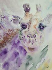 """Original watercolour modern giraffe sign/dated highest quality materials 8×10 """""""