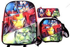 Marvel Comics Avengers Assemble Boy's Backpack Lunch-Bag & Pencil Case 3 Pc Set