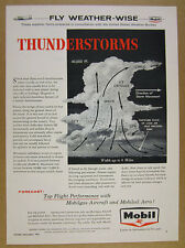 1957 Flying through a Thunderstorm Tips diagram Mobil Aero Oil Gas vintage Ad