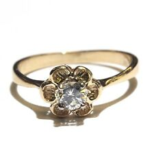 14k yellow gold .21ct SI2 H diamond womens flower ring 1.9g vintage antique
