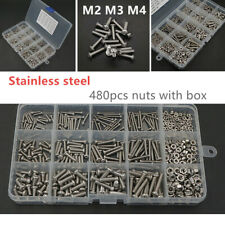480PCS / Box M2 M3 M4 Stainless Steel Hex Socket Head Cap Screws Nut Multi-size