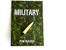 Military Bullet gold plated pin badge. Ammunition, weapons.