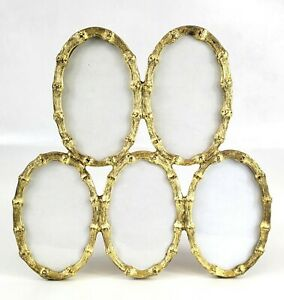 Vtg MCM Hollywood Regency Gold Tone Metal Faux Bamboo 5 Picture Oval Photo Frame