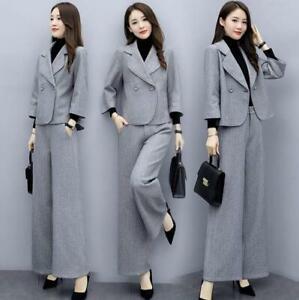 2Pcs Womens Blazer Suits New Office Formal Tops Coats Wide Leg Pants Slim Korean