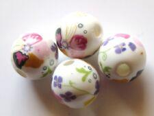 30pcs 10mm Round Porcelain/Ceramic Beads - White / Coloured Flower Bed
