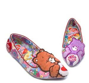 Irregular Choice NEW Care Bears Sharing is Caring retro low heel ballet shoes