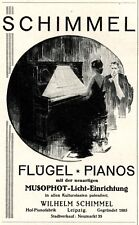 Piano Schimmel Leipzig Reklame 1927 Flügel Pianistin Klavier Werbung
