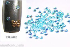 100 bijoux d'ongles DEMI BULLE Irisée Bleu Turquoise Nail Art 2mm