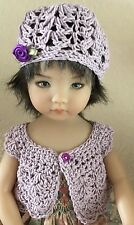 "*Crochet "" French Lilac""  Sweater & Hat~Effner Darling ~ 13""- 14"" Dolls"