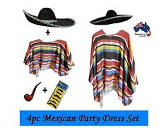 Mexican Poncho & Sombrero Hat Party Set Fancy Dress Cowboy Bandit Fiesta Costume