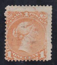 """Canada Scott #23  1 cent yellow orange  """"Large Queen""""  HCV $250"""