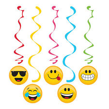 5 Emoji Character Icons Dizzy Danglers Swirls Birthday Party Face Expressions EY
