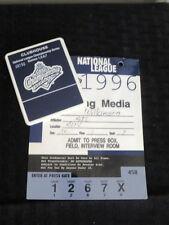 1996 Atlanta Braves NLCS Media Press Pass & Pin Games 1,2,6,7 VS Cardinals
