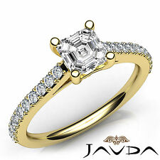 Asscher Diamond Prong Set Engagement Ring GIA Color F VS1 18k Yellow Gold 1.02Ct