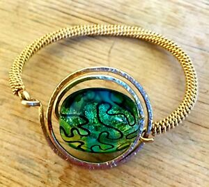 Artisan Made Gold Filled Twisted Wire Hand Blown Glass Bracelet