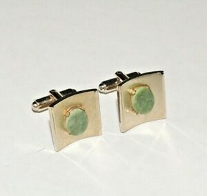Exquisite pair of Vintage Gold-tone with Green Jade cufflinks
