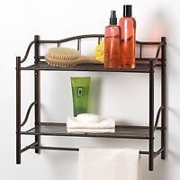 "Bathroom Wall Organizer Rack W/ Towel Bar (2 Tiers) Oil-Rubbed Bronze Finish 20"""