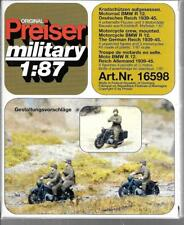 Preiser WWII German BMW R12 Motorcycle & Crew (4 Figs/ 3 Cycles) 1/87 16598 ST