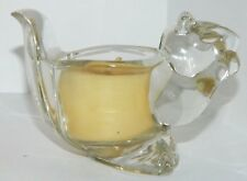 Clear Heavy Glass Squirrel Votive Candle Holder With Candle By Avon