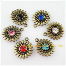 6Pcs Antiqued Bronze Mixed Crystal Sun Flower Charms Pendants 20x24mm