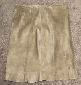 Intuitions Suede Unlined Pencil Side Zip Skirt New Ruffle Hem Tan Size 8