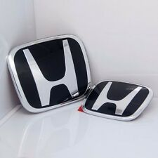 2PCS New Black H JDM Fit HONDA CIVIC Si Dx Ex Emblem Grille+trunk 2006-2015