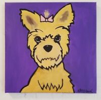 "Pop Art Yorkie Original Painting Art 12x 12"" ready to hang Signed by Artist Hawk"