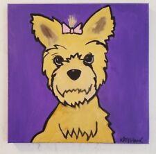 "Pop Art Yorkie Original Painting Art 12x 12"" ready to hang Signed by Artist Hawk"