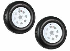 "2-pack Trailer Wheel Tire 420 St205/75d15 205/75 D 15"" LRC 5 Hole White Spoke"