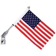 "AMERICAN US FLAG 13"" Pole Motorcycle Bike Univeral Luggage Mount USA BKFLAGPL"