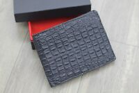 DOUBLE SIDE Black Genuine Crocodile Alligator Leather Skin Wallet Men's Bifold