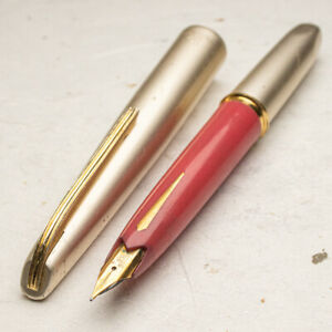 Vintage 1960s Platinum Pocket Style Pink and Silver 18K SF Nib Fountain Pen