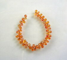 "ORANGE SAPPHIRE faceted drop briolette beads AAA+ 3.5-4mm 4"" strand"