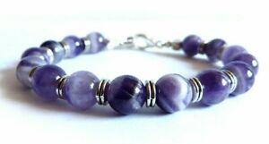 Bracciale braccialetto da uomo con pietre perle Ametista naturali perline viola