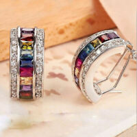 Women 925 Silver Multicolor Topaz Ear Stud Hoop Dangle Earrings Wedding Elegant