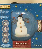 Debbie Mumm by Sakura ~Snowman~ Christmas Salad/Dessert Plates ~ New In Box