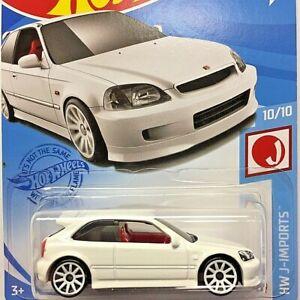 NEW Hot Wheels 99 Honda Civic Type R EK9 White JDM 2021 No 214 GRX62 Long Card