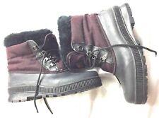 SOREL Boots Kaufman Women's Size 8 Removable Liner Canada Black Red Fur Trim