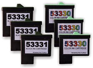 Primera Bravo II 53330 Color & 53331 Black ink Cartridges 6pcs