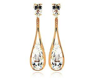 925 STERLING SILVER ROSE GOLD PLATED TEAR DRIOP DANGLE EARRINGS W/ DIAMOND