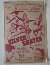 Original Movie Film Program SILVER SKATES 1943.BELITA Programa de mano,cine