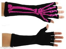 SLEEVES FINGERLESS GLOVES BLACK COTTON BONE SKELETON FUCHSIA PUNK ROCK EMO